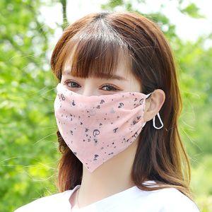 Yıkanabilir şifon Yüz Çiçek Baskılar Karşıtı Tükürük Splash Güneş UV Koruma Ağız Mascherine Toz geçirmezlik solunum cihazına 2 08ry E1 Maskesi
