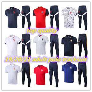 2 estrelas francês manga curta polo tracksuit 19 20 21 treinamento terno comes curtos 3/4 calças grisezmann pogba mbappe camisa de futebol uni
