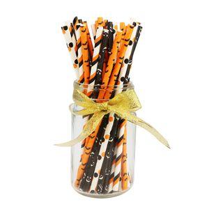 Gastronomie Bar Halloween Papierstrohe Bulk-Biodegradable Einweg Trinken Schwarz Weiß Orange Bat Gestreifte Geist für Partybedarf JK1909