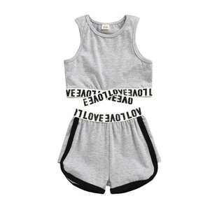 Ins 2020 fashion Summer casual girls suits letter girls tracksuit kids tracksuit Vest+shorts 2pcs set kids designer clothes girls B978