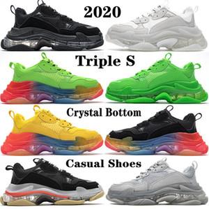 2020 de calidad superior de la explosión de cristal láser inferior París 17W Triple S para mujer para hombre de los zapatos ocasionales de la vendimia papá Plataforma Formadores zapatilla de deporte de los zapatos del diseñador