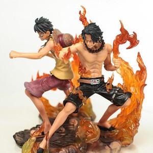 Boas 2pcs / set 15 centímetros One Piece DX Luffy Ace dos desenhos animados Irmandade Anime 2 anos mais tarde Modelo PVC Ação Brinquedos Figura dos desenhos animados Batalha Ver