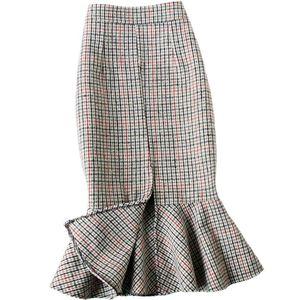 Зимняя гусеница в шерстяной долях русалка в шерстяной юбке женщины пакет бедра элегантные густые теплые вздохнутые юбки юбка труба