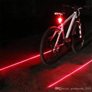 Bike Cycling Lights Waterproof 5 LED 2 Lasers 3 Modes Bike Taillight Safety Warning Light Bicycle Rear Bycicle Light Tail Lamp DLH054