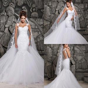 빈티지 모자 슬리브 레이스 인어 웨딩 드레스 사우디 아라비아 꽉 탑 비드 투명 백 흰색 싼 fishtail 웨딩 드레스