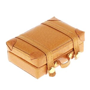 1 6 Classic Doll Dollhouse Miniature Toy PU Leather Trunk Box Suitcase Luggage Traveling Case