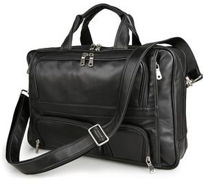 Mens en cuir noir vintage Porte-documents Sac pour ordinateur portable de grande taille Business Bag Computer main pour hommes Sacs en cuir