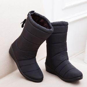 Yeni Kadın Çizmeler Kadın Aşağı Kış Çizmeler Su Geçirmez Sıcak Ayak Bileği Kar Botları Bayanlar Ayakkabı Kadın Sıcak Kürk Botas Mujer Rahat Patik