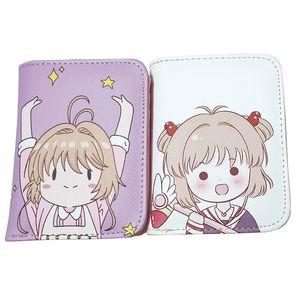 Cardcaptor Sakura Mulheres Card Captor Sakura Curto Carteira Com Zíper Bolsa Da Moeda Da Bolsa Do Cartão de Mudança Bolsa Titular Anime Cartera Mujer