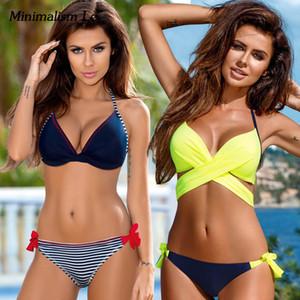 Minimalismo Le Push Up Bikini 2019 Cross Patchwork Mulheres Swimwear Swimsuit Halter Top Impressão Maillot Biquini Maiôs