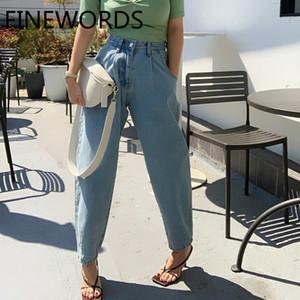 FINEWORDS Vintage Casual Namorado cintura alta Mom Jeans Harem coreano Jeans solto Plus Size 2020 azul New Spodnie Damskie