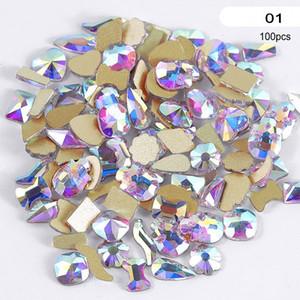 100Pcs Multi Formen Glaskristall AB Strass für Nail Art Craft, Mix 8 Styles Klebstein Crystals Dekorationen 3D Flat Back R49
