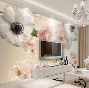 현대 미니멀 아름다운 꽃 TV 배경 벽 PAPEL 핀 타도 가족의 따뜻한 벽지 빈티지 배경을 3D