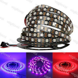 Bande LED DC5V adressables WS2812B LED bande de lumière blanche / PCB noir 30/60 pixels RVB Led 2812 Ruban Ruban DHL étanche