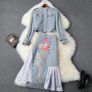 das mulheres europeias e americanas de roupas 2019 inverno casaco novo estilo de manga comprida bordada saia terno de lã moda