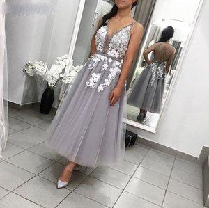 V Neck Ankle-Length Prom Dresses Vestido De Festia Open Back Sexy Lace A-Line Evening Party Gown Short Evening Party Gowns