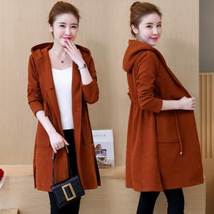 Cappotto di moda coreana New Knitting Big Yards Cappotto a maglia lunga Autunno e inverno con cappuccio Maglia lunga trench