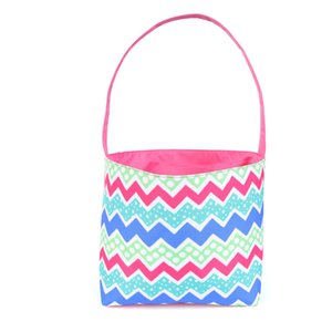 23styles Striped Easter Basket Canvas Rabbit Buckets Easter Bunny Bags Plaid Egg Candy Baskets Wave Bunny Tote Party Supplies GGA3191-4