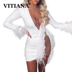 VITIANA Frauen reizvolle Partei, figurbetontes Kleid Frühling 2020 weibliche lange Hülse Federn Mesh-Minikleider Femme Clubwear dünne Vestidos
