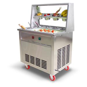 Yeni Gelenler çift Kare Pan Anında Rulo Kızarmış Dondurma Makinesi Elektrikli Tayland Fry Buz Yapma