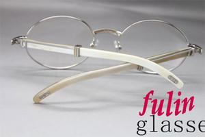 Wholesale- 7550178 White Buffalo Horn Brillen beliebt Lasses Größe: 55-22-135 mm