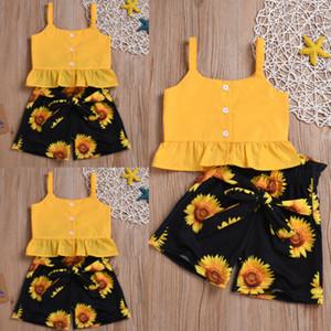 Kleinkind-Baby-Kind-Mädchen-Kleidung-Sommer-Crop Tops Sunflower Shorts Hosen Outfits