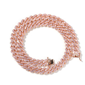 Full Diamond Iced Out Chains Hip Hop Necklace Jewelry Men Necklace Micro Cubic Zirconia Copper Set Diamond Necklace Iced Out Chains Rose Gol