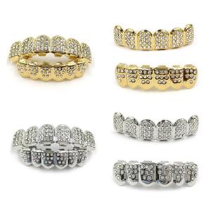 Denti d'argento Nuovo Fshion placcato oro 18K Iced Out Top gioielli uomini donne inferiore elegante regalo