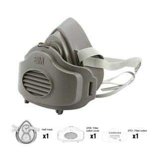 3200 Masques 3701CN Filtre coton Demi visage anti-poussière Masque anti construction industrielle poussière Brumeux Brouillard sécurité Masque à gaz