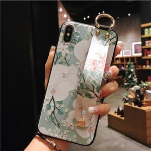 Estuche para iPhone XS Max XR 7 8 6 s más flores Correa de muñeca Banda de mano Soporte Mate suave TPU Cubierta linda