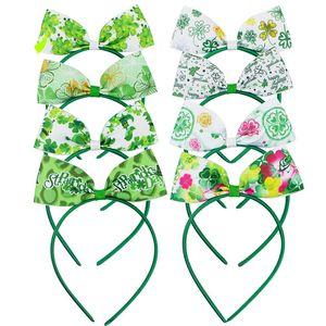 Ireland do dia do cabelo varas 8 cores Irish St. Patricks Day Headband Lucky Clover Bow Vara cabelo verde Trevo Casual Partido Acessórios 06
