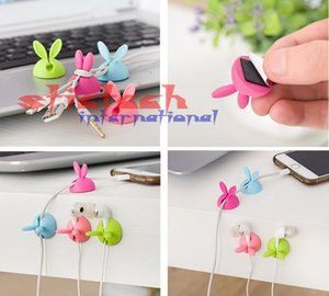by dhl or ems 1000 sets 4pcs set Rabbit Ear Cable Cord Wire Line Organizer Clips Fixer Fastener Holder