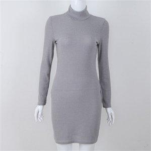 Kadın Örgü Elbise Moda Yüksek Yaka İnce Temel kim Rahat Giydirme Kış Ve Sonbahar sıcak uzun kollu