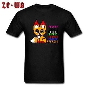 Bonito Fox Encabeça Homens T-shirt Dos Homens Tshirt Juventude Jogo T Camisas Dos Desenhos Animados Roupas de Grife Preto Tees Slim Fit Anime Streetwear