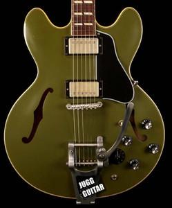 Costumbre 1964 ES-345 Reedición de color gris oliva verde 2018 semi hueco de la guitarra eléctrica Bigs Tailpiece, Varitone Knob, ABR-1 Puente, níquel Hardware