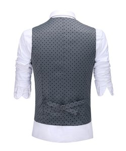 Three Pieces Men's Wedding Suit Three Pieces Dots Printed Notch Lapel Tuxedos Tailcoat Best Men Double Breasted Vest