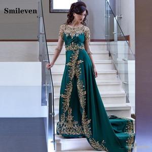 Festa Muçulmana Smileven Verde marroquino Kaftan Dubai Vestidos Gold Lace Applique Velour Arábia Árabe Vestidos