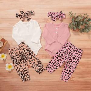 Bebek Bebek Karikatür Kıyafetler Çocuk Kız Katı Uzun Kollu Çocuk Giyim Kız Leopar Baskılı Pantolon witn Hairband 3-12M 06 Tops
