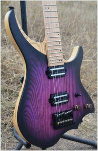 Headless Electric Guitar Purple Burst Color Flame Maple Neck Musical Instruments