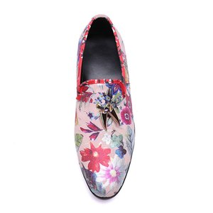 New Fashion Comfortable Genuine Leather round toe pink print Flat Man handmade Shoes slio-on men driving shoes size38-46