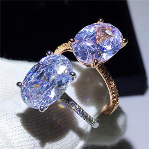 Femmes Classique Promise Bague En Argent Sterling 925 Ovale Taille 3ct Diamant Bague De Fiançailles De Mariage Bagues Pour Femmes hommes