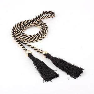Hot Women's Woven Decorative Waist Rope Belt Ethnic Wind Knot Tassels Dress Waist Chain Belt S554