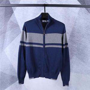 Crocodile Brand Men Designer Sweaters Fashion Warm Stripe Panelled Mens Zipper Cardigan Sweaters Casual Males Clothing