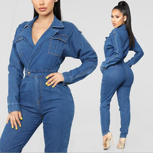Femmes Denim Tenues Casual manches longues Jeans barboteuses Sexy col en V profond Jumpsuit Vintage Denim One Piece Pantalon Salopette
