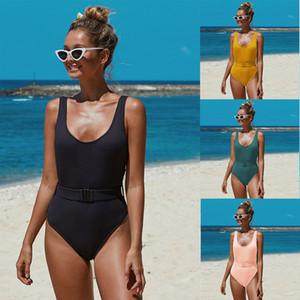 Triangl baño atractivo Halter ropa del verano de nylon acolchado T collar Nueva sólido corsé de una pieza de baño para las mujeres
