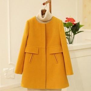 Korean Fashion Coat 2019 New Spring Autumn Wool Coat Women Loose A-aline Long Sleeved O-neck Medium Long Black Yellow Plus Size