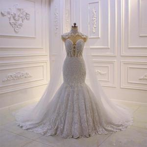 Image réelle sirène Robes de Mariée avec détachable Châle dos transparent perles mariée Robes de mariée Appliques de luxe