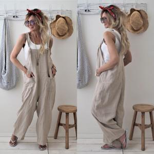 Spielanzug 2020 neue Marken-Frauen beiläufige lose Baumwolle Leinen Solide Taschen Overall-Gesamt-Wide Leg-Hose heiß