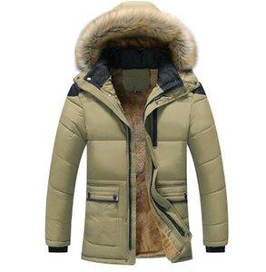 Ispessita Plus Size Giacca inverno spesso Piumini Giacche Mens Medio Lungo Windbreaker Outwear Mens Giù