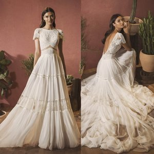 2020 Bohemian Wedding Dresses Scoop Neck Lace Appliques Chiffon Boho Bridal Gowns Sexy Backless Sweep Train A-Line Robe De Mariee
